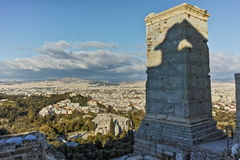 Amazing view of Propylaea - monumental gateway in the Acropolis of Athens. Attica, Greece Royalty Free Stock Images