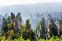Amazing view of quartz sandstone pillars Avatar Mountains. Amazing view of natural quartz sandstone pillars of the Tianzi Mountains Avatar Mountains in the royalty free stock photo