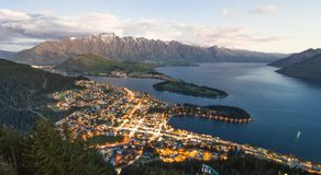 Amazing View from Queenstown Skyline over the alpine city and La stock photos
