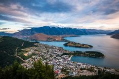 Queenstown Sunset View, New Zealand Royalty Free Stock Photo