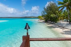 Amazing view from the resort to the blue lagoon, Aitutaki, Cook Islands royalty free stock photo