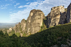 Amazing view of Rock Pillars and Holy Monasteries of Varlaam and St. Nicholas Anapausas  in Meteora, Greece Stock Photo