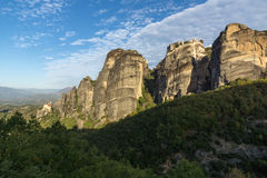 Amazing view of Rock Pillars and Holy Monasteries of Varlaam and St. Nicholas Anapausas in Meteora, Greece Royalty Free Stock Photo