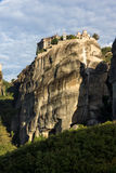 Amazing view of Rock Pillars and Holy Monasteries of Varlaam and St. Nicholas Anapausas in Meteora, Greece Stock Photos