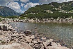 Amazing view of Rocky peaks and Upper Muratovo lake, Pirin Mountain Stock Photo