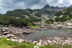 Amazing view of Rocky peaks and Upper Muratovo lake, Pirin Mountain Royalty Free Stock Photography