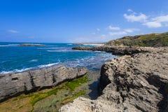Amazing view on the rocky seashore of Dor Stock Image