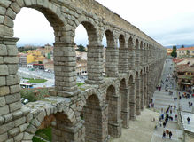 Amazing View of the Roman Aqueduct of Segovia Royalty Free Stock Photography