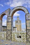 Amazing view from the rooftop arcades over Mosque. Amazing view from the rooftop arcades over El Zaytoun Mosque . Tunisia. Tunis - old town (medina) seen from Royalty Free Stock Images