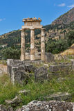 Amazing view of Ruins and Athena Pronaia Sanctuary at Ancient Greek archaeological site of Delphi, Greece Royalty Free Stock Photo