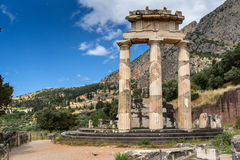 Amazing view of Ruins and Athena Pronaia Sanctuary at Ancient Greek archaeological site of Delphi, Greece. Amazing view of Ruins and Athena Pronaia Sanctuary at royalty free stock photography