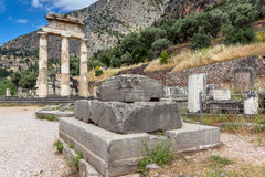 Amazing view of Ruins and Athena Pronaia Sanctuary at Ancient Greek archaeological site of Delphi, Greece Stock Photo