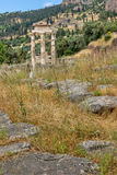 Amazing view of Ruins and Athena Pronaia Sanctuary at Ancient Greek archaeological site of Delphi, Greece Stock Images