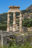Amazing view of Ruins and Athena Pronaia Sanctuary at Ancient Greek archaeological site of Delphi, Greece Royalty Free Stock Photography