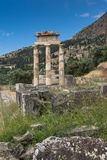 Amazing view of Ruins and Athena Pronaia Sanctuary at Ancient Greek archaeological site of Delphi, Greece Stock Photos