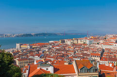 Amazing view from Saint George Castle, Portugal. Aerial view from Saint George Castle, Portugal Stock Images