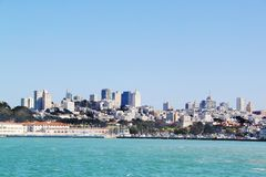 Amazing view on San Francisco, California. Blue sky background. Beautiful backgrounds stock images