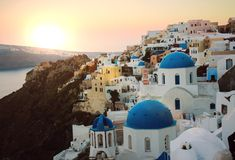Amazing view of a Santorini sunrise Royalty Free Stock Photos