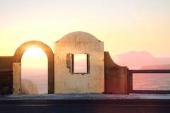 Amazing view of a Santorini sunrise Stock Photos