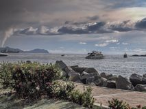 Amazing view of the sea with boats royalty free stock photography