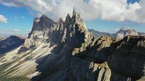 Amazing view on Seceda peak. Trentino Alto Adige, Dolomites Alps, South Tyrol, Italy, Europe. Odle mountain range, Val Gardena. stock footage