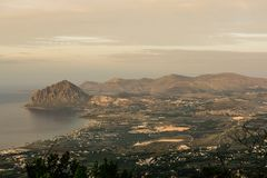 Amazing view seen from Erice Mountain Sicily, Italy. stock photography