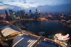 Amazing view of Singapore. Amazing view of skyscrapers and the city center in Singapore at dusk Royalty Free Stock Image