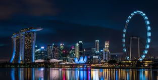 Singapore Marina Bay Sand Night Scene. An amazing view of Singapore Marina Bay Sand with Singapore Flyer Stock Images