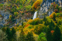 Amazing view of Slovenian forests with waterfall near Bled, Slovenia. Royalty Free Stock Photos
