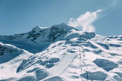 Amazing view with snow-capped mountains and cable car in mayrhofen ski. Area, austria Royalty Free Stock Photos