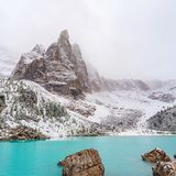 Amazing lake with unusual color of water. Amazing view of Sorapis lake in Dolomite Alps, Italy, with unusual color of water Stock Photography