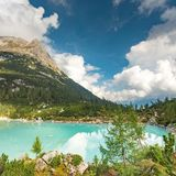 Amazing view of Sorapis lake Lago di Sorapis Dolomites, Italy. Amazing panorama of Sorapis lake Lago di Sorapis Dolomites, Italy royalty free stock image