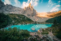 Sorapis lake Lago di Sorapis. Amazing view of Sorapis lake Lago di Sorapis at sunrise. Dolomites, Italy stock photography