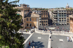 Amazing view of Spanish Steps and Piazza di Spagna in city of Rome, Italy Royalty Free Stock Photo
