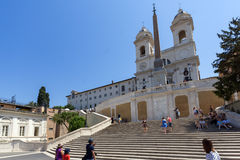 Amazing view of Spanish Steps and Piazza di Spagna in city of Rome, Italy Royalty Free Stock Photography