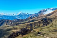 Amazing view of spring day landscape Caucasus mountains with blu Royalty Free Stock Images