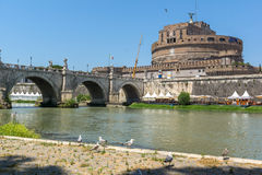 Amazing view of St. Angelo Bridge,  Tiber River and castle st. Angelo in city of Rome, Italy Royalty Free Stock Photo