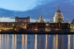 Amazing view of St. Paul's Cathedral from Thames river, London, England Stock Image