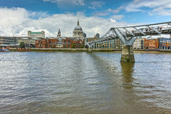 Amazing view of St. Paul's Cathedral from Thames river, London, England Stock Images