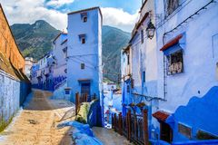 Amazing view of the street in the blue city of Chefchaouen. Loca Royalty Free Stock Photo