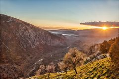 Amazing view of sunset in Delphi, Greece Stock Photo