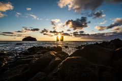 Amazing view of sunset over Mosteiros beach Sao Miguel, Azores Islands stock photo