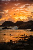 Coastline at sunset in Norway Stock Images