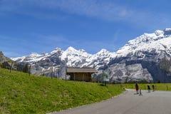 Amazing view of Swiss Alps and meadows near Oeschinensee (Oeschinen lake), on Bernese Oberland, Switzerland Stock Photography