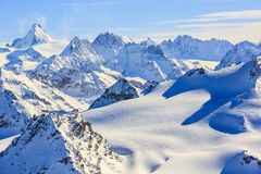 Amazing view of swiss famous moutains in beautiful winter snow. Stock Images