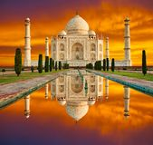 Amazing view on the Taj Mahal in sunset with dramatic sky. The T