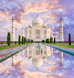 Amazing view on the Taj Mahal in sunset light with reflection in Royalty Free Stock Images