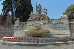 Amazing view to Fountain of Neptune at Piazza del Popolo in city of Rome, Italy Royalty Free Stock Photo