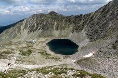 Amazing view to Ledenoto (Ice) Lake from Musala Peak, Rila mountain Royalty Free Stock Images