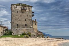 Amazing view to Medieval tower in  Ouranopoli, Athos, Chalkidiki, Greece Stock Photo